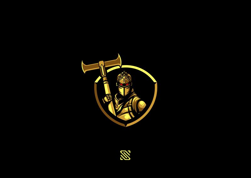 black knight gold blackknight fortnite knight black illustration esports mascot esport vector branding artwork design logo - black knight fortnite logo