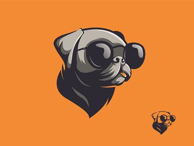Cool Dog bulldog orange cool sunglass icon illustration mascot esports vector ai branding artwork brandidentity logo dog logo dog