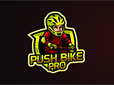 Push Bike Pro biker bike mascot esports branding esport vector artwork design brandidentity logo