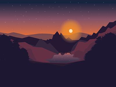 Sunset illustrator illustration