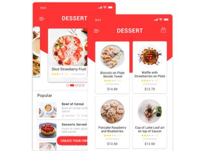 Dessert IOS app design concept ux ui store iphone ios design app