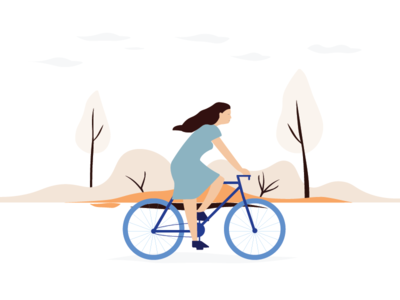 Bicycle travelling woman vector travel nature illustation drawing cycling adventure