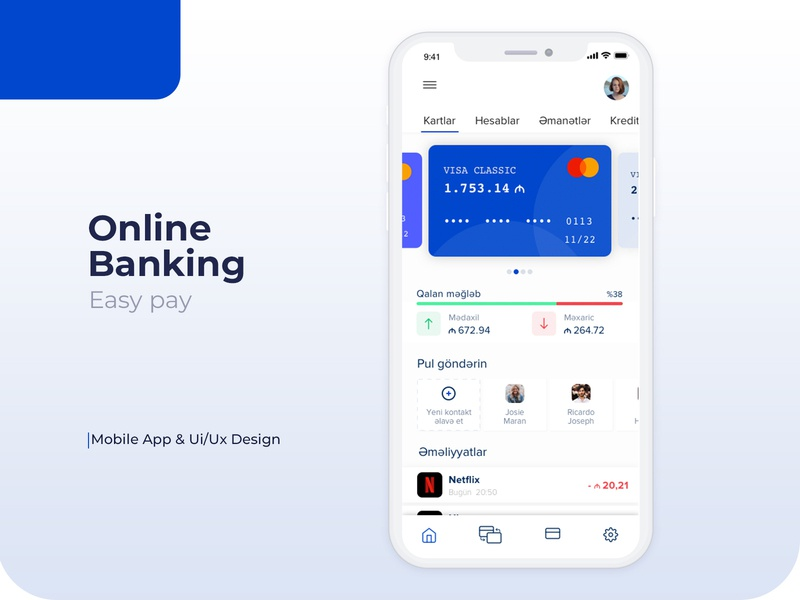 Online Banking payment easy pay app design iphone app ux ui design