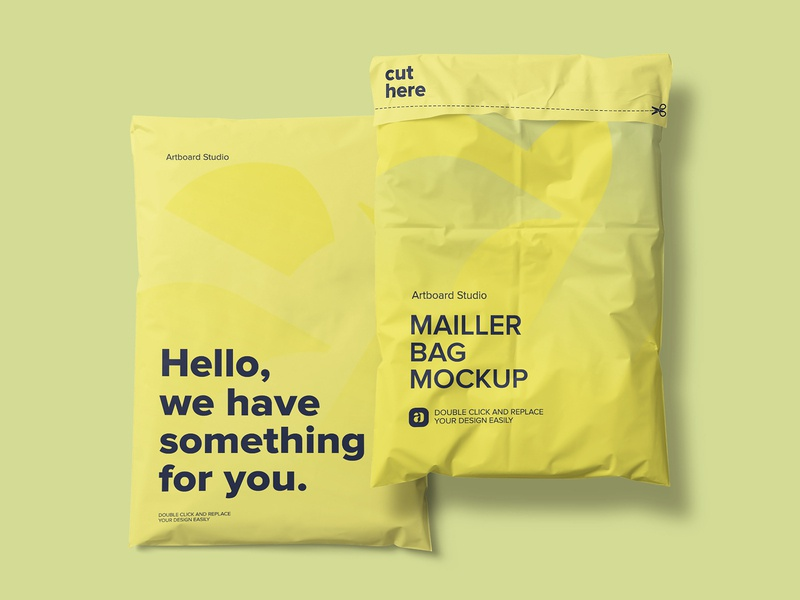 Mailer Bag Mockup Scene typogaphy bag cargo postal mailer package presentation logo brand packaging branding design artboard studio mockup