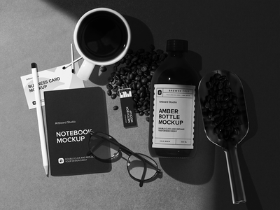 Coffee Package and Notebook Mockup Scene espresso brand itentity blackandwhite coldbrew coffee animation logo presentation brand print packaging branding design artboard studio mockup