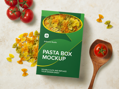 Pasta Box Mockup Scene box pasta kitchen label package presentation logo brand packaging design branding artboard studio mockup