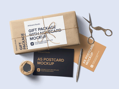 Gift Package Postcards Mockup Scene color gift etsy postcard package logo presentation brand print packaging branding design artboard studio mockup