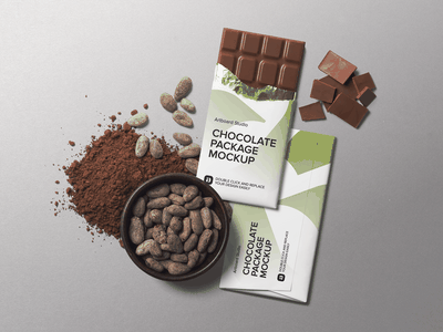 Chocolate Package And Cacao Beans Mockup Scene food identity label package mockup sweet cacao chocolate bar chocolate package presentation logo brand branding design artboard studio mockup packaging