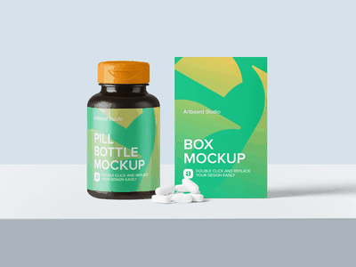 Pill Bottle And Box Mockup Scene medical supplement medicine pill bottle pill package logo presentation brand packaging branding design artboard studio mockup
