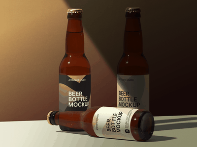 Hard Shadow Beer Bottle Package Mockup Scene shadow craft beer craft brewery beer bottle bottle beer label package logo presentation brand packaging branding design artboard studio mockup