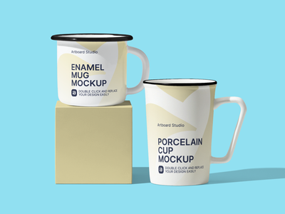 Enamel Mug Mockup Scene coffee mug design coffee cup kitchen mug cup brand logo packaging artboard studio mockup