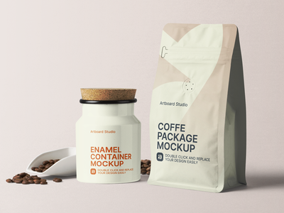 Enamel Container And Coffee Package Mockup Scene color coffee label package logo presentation brand packaging branding design artboard studio mockup