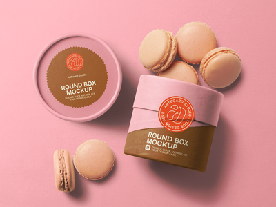 Round Box And Macarons Packaging Mockup Template bakery pink dessert sweet macaron logo label package presentation brand packaging branding design artboard studio mockup