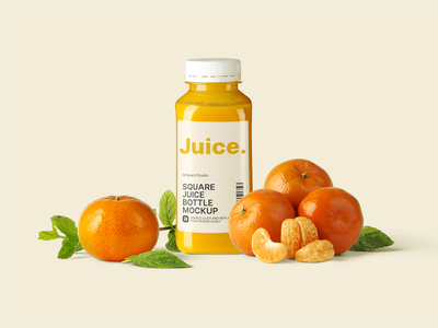 Square Juice Bottle Mockup Scene color label design juice bottle mockup bottle mockup juice bottle bottle juice package juice drink square bottle package logo presentation brand packaging free branding design artboard studio mockup