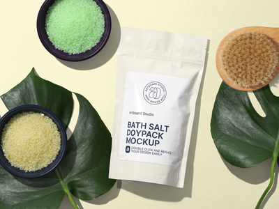 Bath Salt Doypack Package Mockup Scene bathing salt skin care bathroom bath salt bath cosmetic label package logo presentation packaging branding design artboard studio mockup