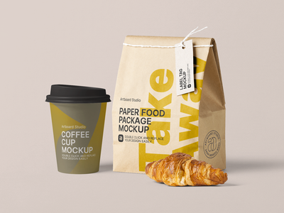 Take Away Cafe Package Mockup Scene fast food starbucks breakfast takeaway cafe coffee cups coffee cup coffee food label package logo brand presentation packaging design branding artboard studio mockup