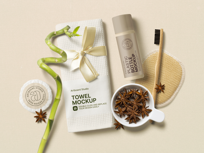 Hotel Bathroom Amenities Mockup Scene towel cosmetics hotel amenities bahtroom amenities bathroom resort hotel branding spa hotel package logo brand presentation packaging branding design artboard studio mockup