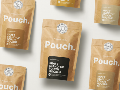 Kraft Paper Stand-up Pouch Mockup mockups pouch mockup kraft paper kraft stand-up pouch mockup ziplock pouch food coffee label package logo brand presentation packaging branding design artboard studio mockup