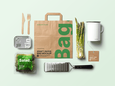 Organic Food Packaging w/Kitchen Products Mockup Template kraft bag tin fish green salad food delivery organic food kitchen organic food label package logo presentation packaging branding design artboard studio mockup