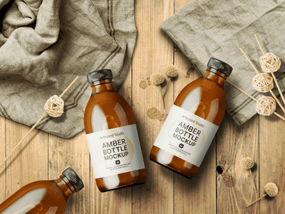 Amber Bottle Mockup Template label package logo presentation packaging branding design artboard studio mockup
