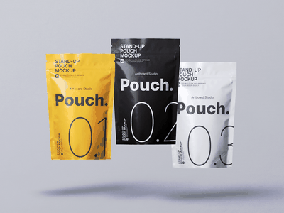 Flying Stand Up Pouch Mockup Template pack stand-up packaging design premium mockup package mockup ziplock food coffee pouch mockup standup pouch brand package label logo presentation packaging branding design artboard studio mockup