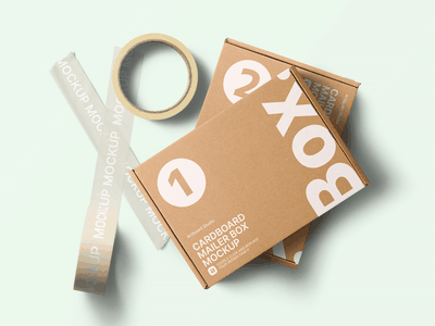 Cardboard Mailer Box Mockup Template package design box design mailer box shipping mailer cardboard box box cardboard paper tape label package print brand presentation packaging branding design artboard studio mockup