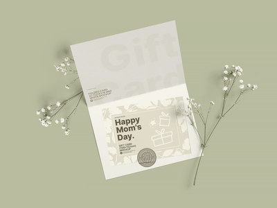 Free Mother's Day Gift Card Mockup Template celebrate invitation invite folded card sticker gift card gift mothers day mother mothersday print presentation design artboard studio mockup