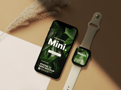 iphone 12 mini and apple watch mockup template interface daily ui ui design app design marketing smartwatch iphone 12 iphone mockup template iphone mockup iphone app ui applewatch apple app ux ui presentation artboard studio mockup