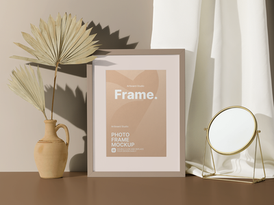 Photo Frame with Decorative Items Mockup Template fabric photo frame mockup graphic asset template frame mockup photo frame frame neutral mirror vase abstract creative curated artwork art print presentation design artboard studio mockup