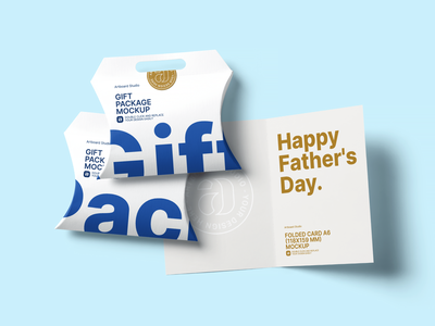 Father's Day Gift Package Mockup Template note card notecard note celebration logo presentation packaging design branding artboard studio mockup pack gift pack package gift fathers day gift fathers day father