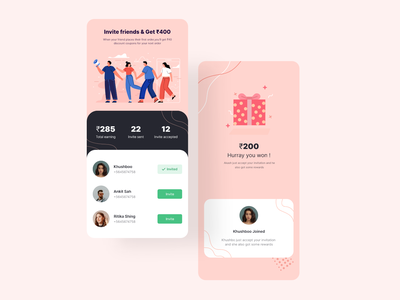 Yumzy Food Delivery App Invite and Earn page uiuxdesign uiux delivery app food delivery app food delivery food app food illustration mobile ux ios app design ui uidesign appinterferance