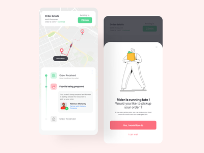 Yumzy Food Delivery App - Order Tracking and Self Pickup uiux design uiux delivery app food and drink food delivery app food app food delivery order tracking illustration minimal design ui uidesign appinterferance