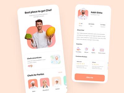 Chef Finder App hiring food app chef hire chef app chef uiuxdesign uiux clean minimal appinterferance ux app design uidesign ui
