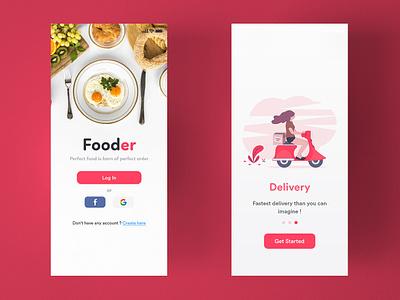 Fooder illustrator mobile vector typography minimal ios app design branding icon illustration flat ui uidesign ux appinterferance