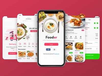 Fooder A Food ordering app clean typography mobile minimal ios type branding web icon illustrator appinterferance app design ux uidesign ui