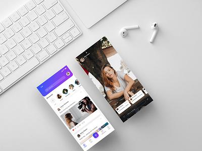 Social Networking App UI flat ios web mobile clean minimal illustrator branding icon app design typography uidesign ui appinterferance