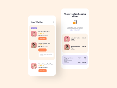 Shopping Wishlist and Order Confirmation flat wishlist simple ux ui design uiuxdesign uiux shopping app shopping typography mobile clean minimal ios design app ui uidesign appinterferance