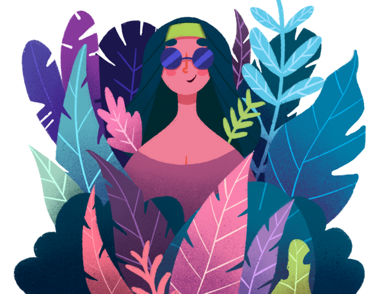 Hippie woman illustration leafs illustration design flat  design female female character