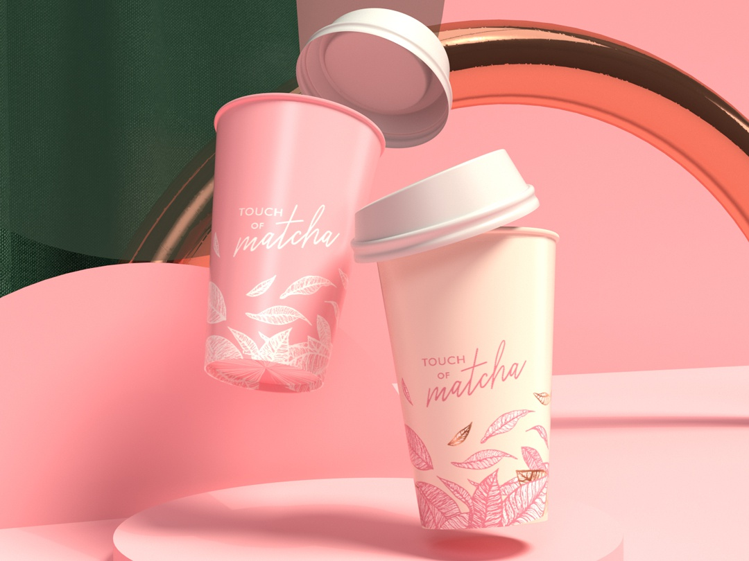 Take away Cup coffee moscow logotype pink cup logo matcha