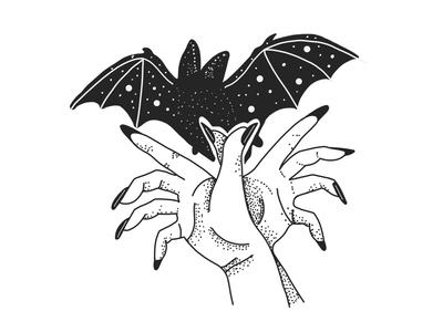 Shadow Puppet Bat illustration tattoo animal art drawing hands graphic design black and white bat logo line art shadow puppet