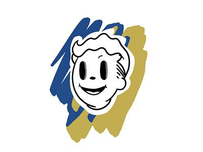 Fallout Vault Boy fleischer 1920s illustration drawing black and white cartoon rubber hose pip boy vault boy fallout