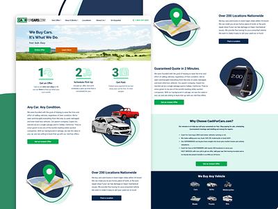 Cashforcars.com Home Page Redesign landingpage cash money green ui ux landing page home page online car car sales auto car