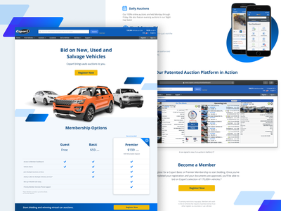 Car Landing Page membership used car copart auction pricing table vehicle uidesign ui ux web insurance car rental car ppc landing page
