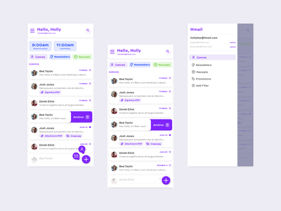 New Email Client Challenge animation schedule calendar card responsive mobile design mobile app design app uxui ux gmail email