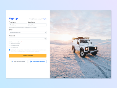 Sign Up / Register Page sign in page form design account password auto car sign in form sign up social proofing social sign in registration register sign in signup