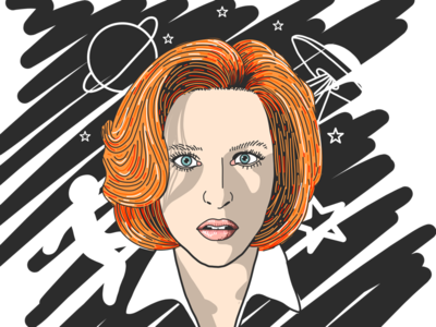 Mulder, it's me... x-files et black and white aliens space adobe drawing color character face line art x files xfiles scully illustration