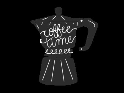 Coffee Time icon hand drawn negative space art black and white espresso coffee illustration
