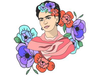 Frida flat adobe portrait floral flowers digital illustration digital art digital colorful character illustration frida kahlo frida