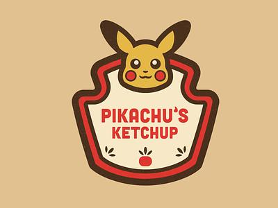 Pikachu's Ketchup ketchup illustration concept pokemon branding concept branding packaging minimalist pikachu