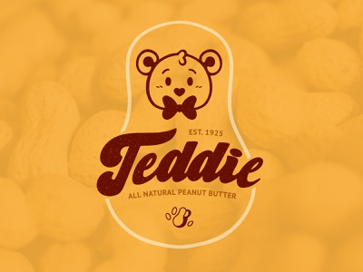 Teddie - Natural Peanut Butter - Rebrand lettering logo rebrand concept nut butter peanut butter handlettering teddie bear illustrative logo logo design branding